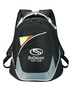 black with grey accents compu-backpack with white logo