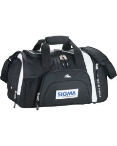 black with white accents 22inch sport duffle with blue and black logo