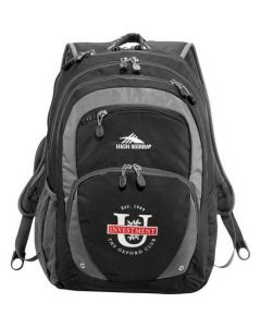 black with grey accents compu backpack with white and red logo