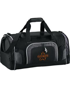 black with grey accents 22inch deluxe duffle with orange logo