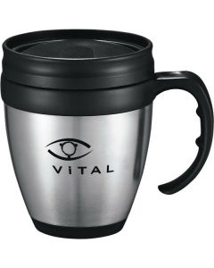 A silver and black 14oz desk mug with a black lid and logo