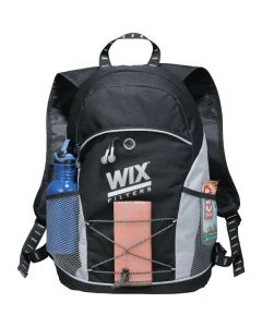 silver and black daypack with corded front and silver logo