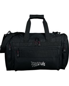 black 20 inch deluxe duffle with white logo