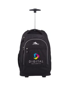 black wheeled compu-backpack with handle extended and full colour logo on front