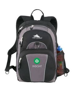 black with grey accents backpack with white and green logo
