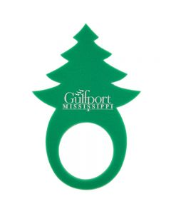 A green foam holiday tree pullover visor with a white logo on it