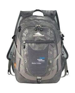 silver compu-backpack with white and blue logo