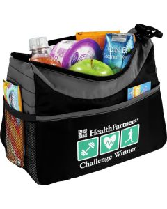 grey and black lunch cooler with lunch insider and green and white logo