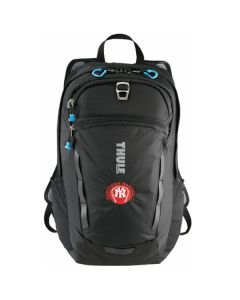 black daypack with blue accents and red and white logo