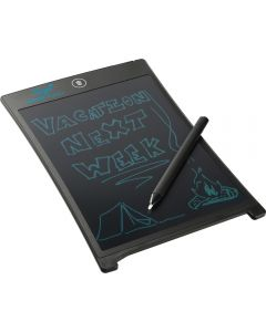 "An angled LCD e-Writing & Drawing Tablet with an 8.5"" screen and a message written on the screen and a stylus resting on top of the tablet"