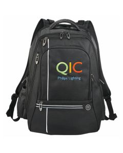 black checkpoint-friendly backpack with full colour logo