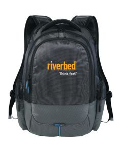 black and grey checkpoint friendly compu backpack with orange and white logo
