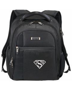 black compu backpack with white logo