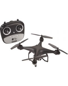 A black remote control drone with camera and GPS in front of the remote control for the device. The remote has a black logo on the front silver panel