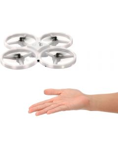 A white sensor drone above an open palmed hand