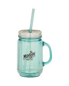 20oz sea glass vintage mason jar with a full colour logo a sea glass coloured straw and silver lid
