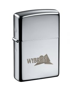 A high polish chrome silver coloured windproof lighter with an engraved logo on the front lower half