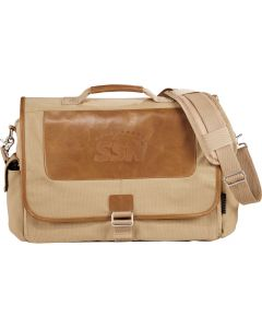 "A brown 15"" cotton canvas compu-bag with dark brown leather style accents and a debossed logo"
