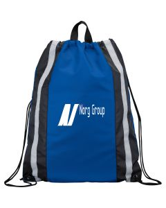 royal blue reflective drawstring backpack with white logo