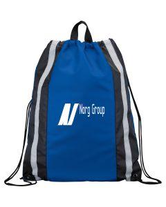 royal blue reflective drawstring backpack with white logo