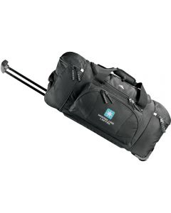black 26 inch wheeled duffle with a white logo and the handle extended