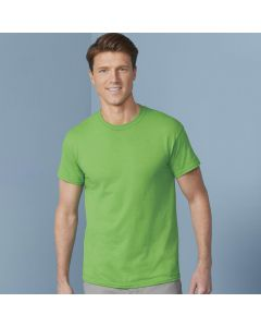 An electric green coloured round neck T-Shirt veing worn by a short haired man stood in front of a blue wall