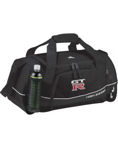 An angled view of a black 22inch duffle bag with a water bottle in the mesh pocket and a full colour logo on the front