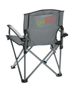 An angled back view of a grey deluxe camping chair with a green and orange logo