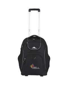 A black wheeled compu-backpack with handle extended and full colour logo