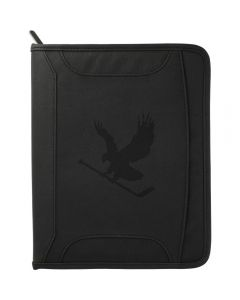 A black zippered tech journal with a debossed logo on the front
