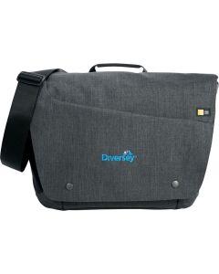 A grey 15.6 inch computer messenger bag with a blue logo