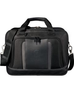 """The front view of a black 17"""" compu-brief with debossed logo"""