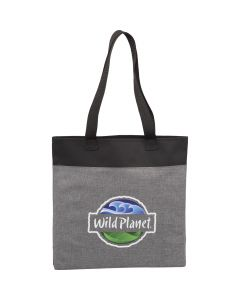 A graphite and black tote with a full colour logo