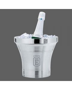 A stainless steel champagne bucket filled with ice with a bucket of champagne inside. On the front of the bucket there is an engraved logo