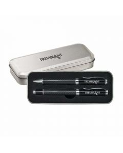 Two images of a ballpoint and rollerball pen set in it's silver box. One image shows the dark interior with the pens inside and the other image shows the silver coloured exterior with the logo on the top of the lid