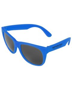 An angled view of a pair of neon blue sunglasses with a black logo on one arm