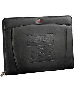 A black zippered padfolio with a debossed logo