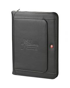 The angled view of a black leather zippered padfolio with a debossed logo