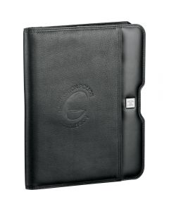 A black writing pad with a debossed logo on the front