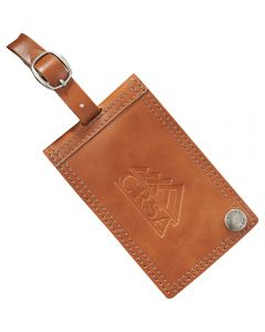 A brown leather identification tag with a debossed logo