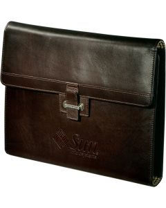 A mahogany coloured leather tri-fold padfolio with a debossed logo on the front