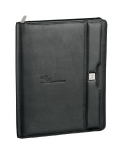 An angled view of a black zippered padfolio with a debossed logo on the front