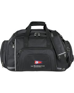 black deluxe duffle with full colour logo