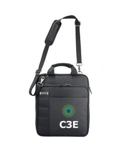 "A black TSA 15"" messenger bag with a full colour logo on the front"