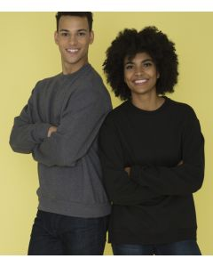 A man wearing a dark heather grey fleece crewneck sweatshirt with his arms folded, leaning on a woman with the same sweater in black, also with her arms folded