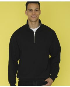 A black 1/4 zip fleece sweatshirt being worn by a man with one hand resting with a thumb in his pocket