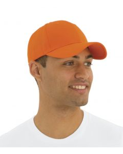 A man in a white t-shirt wearing an orange mid profile twill cap