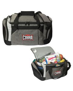 two images of grey and black trail cooler bag both with full colour logo and one in the closed position and open filled with groceries