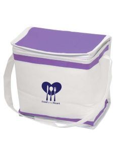 white and purple arctic shelf cooler bag with navy logo