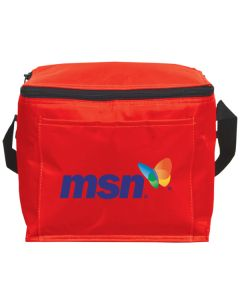red lunch bag or cooler with full colour logo